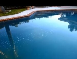 Misty water of pool